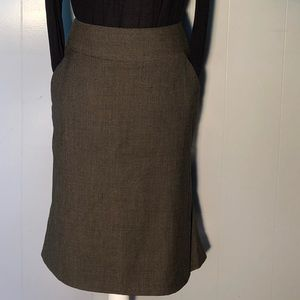 Banana Republic brown wool tweed pencil skirt sz2